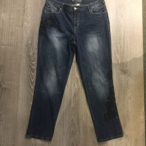 "Chico's Platinum Jeans. 18"" waist. Chico's size 2"